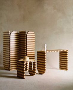 Sarah Ellison Launches a Series of Striped Wood Furniture Pieces
